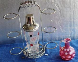 Vintage barware shaker, Fenton cranberry pitcher