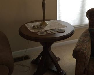 Wooden End Table and Lamp