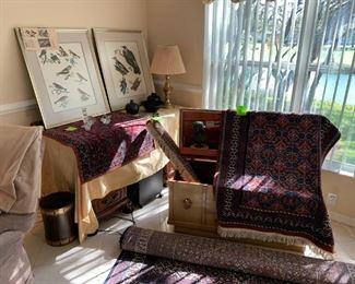 Audubon prints, Oriental rugs, vintage Lane cedar chest.