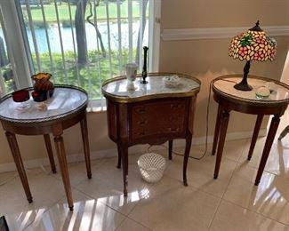 Louis XVI walnut & marble side tables w/ brass rim