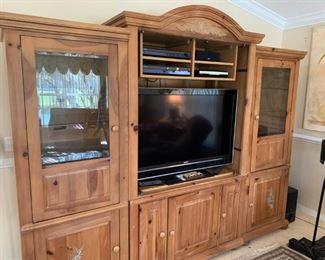 White washed pine entertainment center, Sony electronics