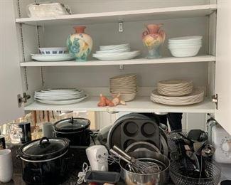 Corelle, Hull Art pottery, bakware, cookware, etc.
