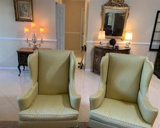 Hickory wing back chairs, Bombay chest, vintage table lamps, etc.