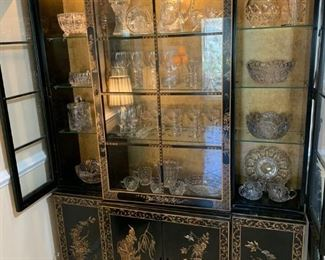 Asian style hutch with Imperial Candlewick stemware, cut crystal bowls, vases, etc.