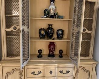 French Provincial hutch with chicken-wire doors.