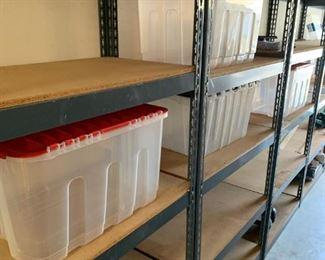 Industrial storage shelves, plastic storage bins
