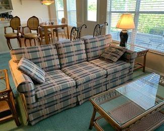 Sofa sleeper, rattan coffee table & end tables