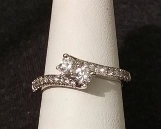 Diamond band with 0.50 ct tw in white gold sz 7