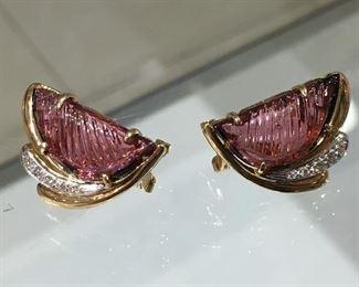 Pink Tourmaline diamond 14k yellow gold earrings