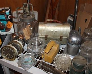 Butter churn and antique glassware