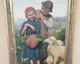 "Antique framed painting (1891) by artist Claudio Rinaldi (the canvas measures 47"" tall x 27"" wide)"