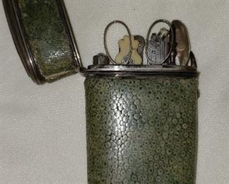 Antique shagreen etui with cartography tools