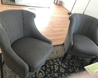 Black Striped Accent Chairs