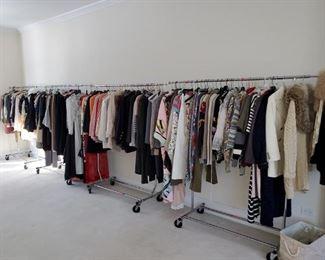 3 Full Racks of Women's Couture Clothes. Channel, Oscar De La Renta, Ungaro, Lagerfield, Dior,