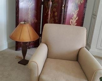 Lee upholstered arm chair, Room divider, matching floor and table lamps