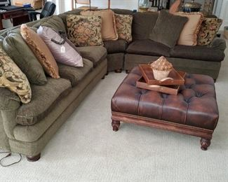 Hancock and Moore Sectional Sofa, Large leather ottoman