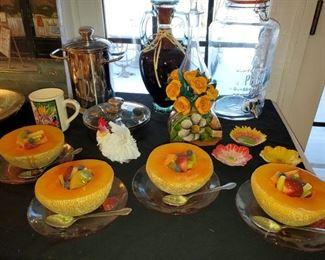Faux, cantaloupe and fruit  plates