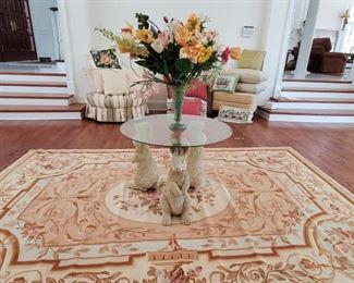 Rabbit Table, Needlepoint area rug