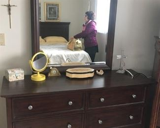 This is a nice mirrored dresser that goes with the bedroom set.