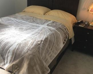 The bedroom set available is high quality -- retailed for $2,600.00.  Items sold together as set or separately.  The bed is a full and features storage drawers on the side and front -- nice feature!  -- excellent condition and includes mattress, which is a Simmons.