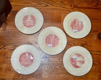 vintage 1932 Wedgwood Smith College red transferware commemorative plates - The Library, College Hall, Seelye Hall, Grecourt Gates