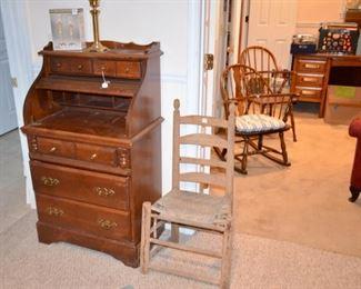 rollmop writing desk; vintage wagon chair