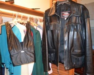 Harley Davidson leather halter top (med) and Milwaukee Clothing Co. motorcycle jacket (Lg)