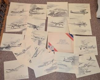 Delta Airlines printed sketches (artist Fred Takasumi) presented by Boeing commemorating Delta's 50th Anniversary 1929-1979 in aviation.
