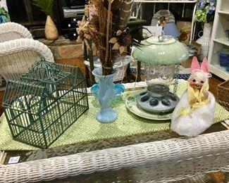 birdcast, art pottery vase; bird feeder, Annlee bunny rabbit