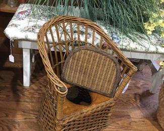 vintage rattan potty chair