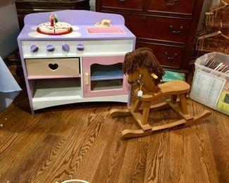 toy kitchen, rocking horse