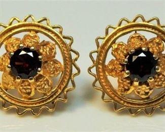 2. Antique pair 14kt Gold Garnet Earrings