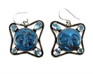 10. Sterling Silver and Lapis Moon Face Earrings