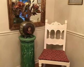 """Six antique painted chairs, """" Majolica """"like fern stand, and large hand painted vase with flowers"""