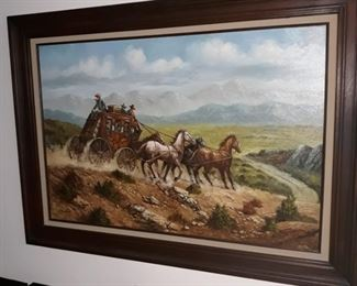 Original  painting, old western  scene