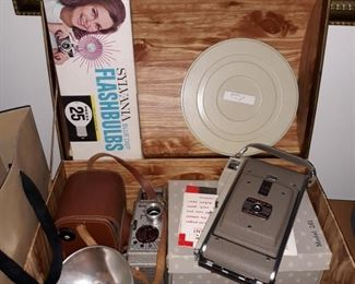 Vintage Polaroid  80A, 8mm movie camera, argus box camera