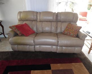 Leather Sofa with reclining End Seats by Lazyboy