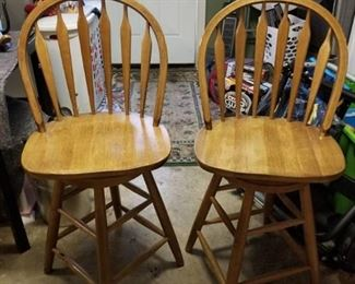 Lot of 2 Stained , Swiveling, Barstools