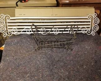 Lot of Wrought Iron Decor, 1 White Plate Rack and 1 Small Basket