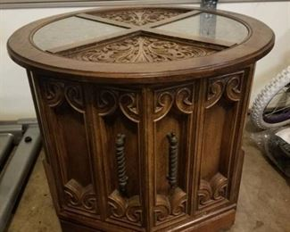 Wooden Side Table with 2 Glass Pieces and Underneath Storage and Wheels
