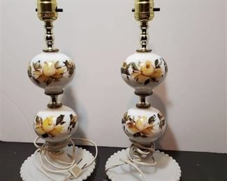 Pair of Milk Glass Painted Hobnail Lamps