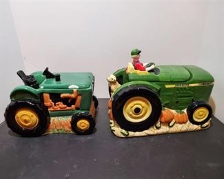 2 John Deere Cookie Jars -one with small chips