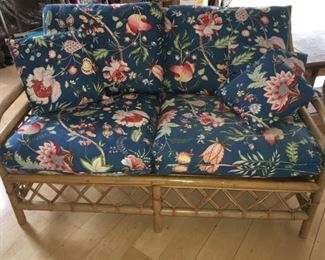 """Vintage rattan love seat with cushions, 50""""W"""