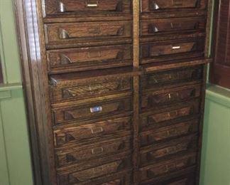"Antique wooden dental cabinet, 51""H x 21.5""D x 30""W"