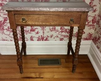 """Antique Eastlake style side table with marble top, 16""""x29"""""""