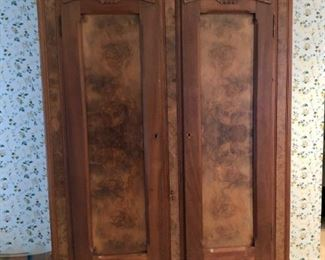 Monumental armoire with burled wood panels, as is