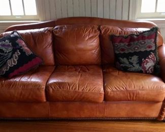 "Handsome Robinson & Robinson (San Diego) leather sofa, 83"" wide"