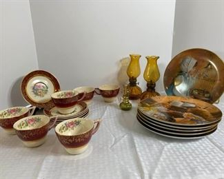 Sandra Kuck plate collection; gold and burgundy floral print tea set, amber oil lamps https://ctbids.com/#!/description/share/331108
