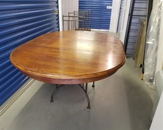 Wooden Oval/ Round Table w Metal Base and 4 Chairs https://ctbids.com/#!/description/share/331149
