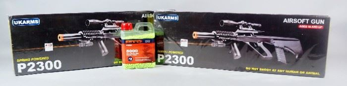 UKArms P2300 Spring Powered Airsoft Guns, Qty 2, New In Box And Crosman 6mm Plastic BBs